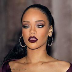 Rihanna Plum Smokey Eye Tutorial - Make-up Anleitung Makeup Goals, Makeup Tips, Beauty Makeup, Makeup Ideas, Makeup Hacks, Makeup Inspo, Lipstick Dark Skin, Plum Smokey Eye, Makeup Looks
