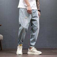 Tootless-Men Zip Plus Size Holes Low Waist Denim Pants Hiphop Dance Jeans