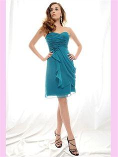 Blue Sweetheart Short Chiffon Bridesmaid Dress ABM020072