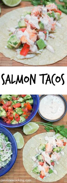 These salmon tacos are easy to make, healthy and delicious. Served with a simple cabbage and cilantro slaw, avocado-tomato salsa & chipotle cream. So tasty.