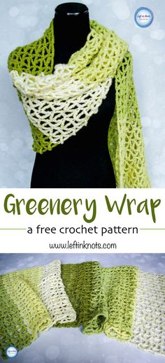 This free and modern crochet pattern is a single skein project! Use just one skein of Caron Cakes yarn to make this geometric triangle mesh wrap. Tones of green make this wrap especially chic and a perfect spring time project. by craftyvixx Poncho Crochet, Crochet Wrap Pattern, Modern Crochet Patterns, Crochet Shawls And Wraps, Crochet Scarves, Crochet Yarn, Crochet Clothes, Crochet Stitches, Free Crochet
