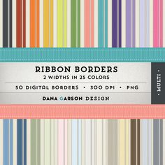 Grosgrain Ribbon Borders in 2 widths & 25 Colors for printing, scrapbooking, blog graphics, clip art ClipArt, Instant Download