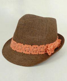 Look at this #zulilyfind! Brown & Coral Lace Fedora #zulilyfinds