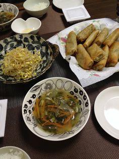 パリパリ春巻&モヤシのサラダ&野菜スープ