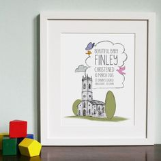 With the announcement of the Royal Christening comes the excitement of what Kate and baby George will be wearing. This #Personalised Church makes an original art gift for a babys' #Christening, perfect for a little baby boy or girl.