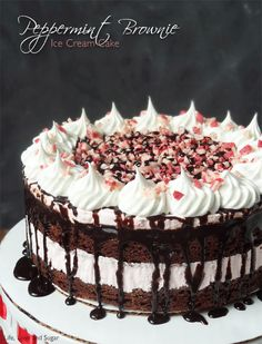Peppermint Brownie Ice Cream Cake