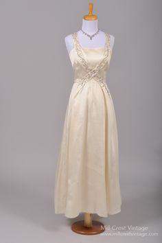 1960 Beaded Silk Vintage Wedding Gown : Mill Crest Vintage