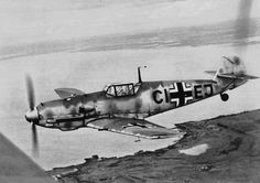 Messerschmitt Bf 109E-4 ,CI+EJ ,WrkN2574 On a test flight before delivery to an an active unit 1940.