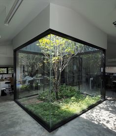 combined black metal with for its in bangkok, which hides this surprising inner courtyard that brings natural ventilation inside the space. Interior Garden, Home Interior Design, Interior And Exterior, Modern Interior, Interior Paint, Exterior Design, Architecture Art Design, Green Architecture, Architecture Today