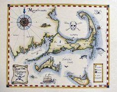 Hand colored Cape Cod 'Treasure Map' by Brydenart.com $75