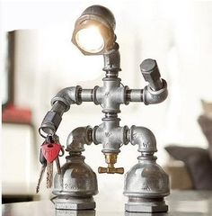 86.73$  Watch now - http://aliuop.worldwells.pw/go.php?t=32464995980 - Vintage Pipe LED Table Lamp In Loft Industrial Style Table Lamps For Bedroom Living Room,Abajur Lamparas De Mesa
