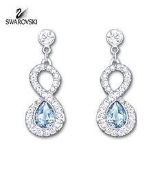 Swarovski Clear & Blue Crystal AFIRE Pierced Earrings Rhodium Plated #5072123