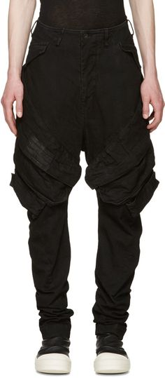 Julius Black Denim Cargo Trousers