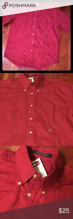 NWT Tommy Hilfiger button front short sleeve top M Medium new with attached tags Tommy button front casual or business top Tommy Hilfiger Shirts Casual Button Down Shirts