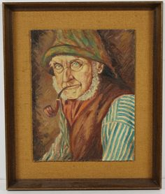 Vintage Old Man With Pipe Figurative Portrait Oil Painting