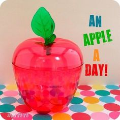 Apple container -- I received this as a gift for Teacher Appreciation Week!  It was filled with assorted candies!