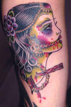 HEAD portrait color tattoo