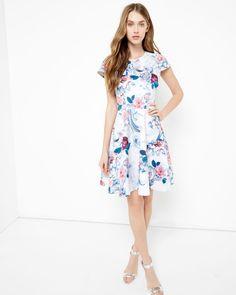 Acanthus Scroll skater dress - Light Pink | Dresses | Ted Baker