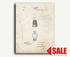 Patent Print  Thimble Patent Wall Art Poster Print by FrameAPatent