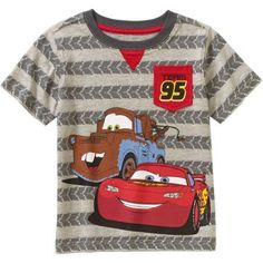 Cars Baby Toddler Boys' Mater and Lightening McQueen Short Sleeve T-Shirt, Toddler Boy's, Size: 25 Months, Gray