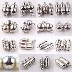 10Pc-Silver-Plated-Rectangle-Round-Strong-Magnetic-Clasps-Hook-Jewelry-Making