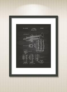 Trumpet 1939 Patent Art Illustration - Drawing - Printable INSTANT DOWNLOAD - Get 5 colors background