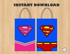 Printable--> SuperGirl/ Superman Birthday Party Favor Bags/ Favors/ Goodie/ Goody/ Loot/ Candy/ Treat Bags/ Bag/ Party Supplies/Decoration/ toppers/ labels/ costume/ fiesta/ festa/ ideas/ invite/ invitation/ pink supergirl/ backdrop/ photo props/ pastel/ bolo/ convite