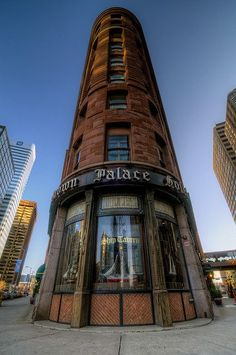 The historic triangular-shaped Brown Palace Hotel, a Denver landmark since 1892.