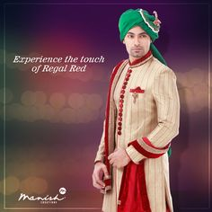 When you dress up to impress, the world witnesses the finest in style. Flaunt your regal side in this amazing piece with a rich hint of red. #ManishCreations #EthnicFashion #IndianWear #Traditional #Royal #Regal #Red #Groom #Fashion