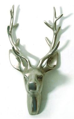 Brushed steel stags head