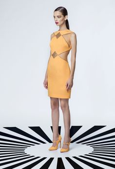 Georges Hobeika RTW Spring-Summer 2015 Look 44 Short Orange Dress