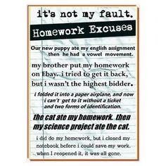 Best homework excuses