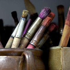 Paintbrushes. I love how they carry around their history.