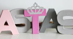 Lettres décoratives / Prénom à poser ~ Décoration chambre enfant ~ Thème princesse gris et rose