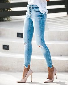 New Jeans Outfit Casual denim fashion pink cargo pants Jeans Fit, Athletic Fit Jeans, Ripped Skinny Jeans, Casual Jeans, Jeans Pocket, Frayed Hem Jeans, Lined Jeans, Cut Jeans, Cropped Jeans