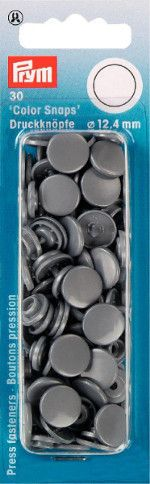 Prym Grey - Non Sew Colour Snaps - 12.4 mm - 30 Pieces