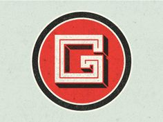 g / letters / circle / logo / typography / red / square / black / outline / monogram
