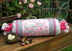 """""""Peek & Boo"""" by Sally Giblin of The Rivendale Collection. Finished bolster size: 7"""" x 25"""" www.therivendalecollection.com.au"""