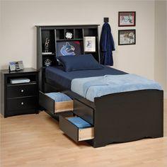 """Prepac Sonoma Black Tall Twin Platform Storage Bed - BBT-4106 6 drawers. Tall 27"""" high $404 + add tall bookcase headboard + 200"""