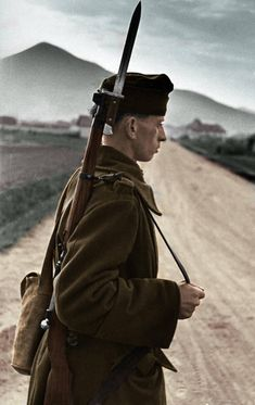 Hungarian soldier in Carpathians.My colored picture. European History, World History, World War Ii, Military Photos, Military History, Central And Eastern Europe, War Dogs, History Images, Military Equipment