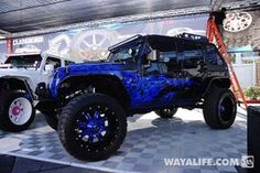 jeep purple | 2014 SEMA All Out Off-Road Purple-Blue Flame / Black Jeep JK Wrangler ...