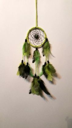 Green and Black Dreamcatcher - 3 inch - Hippie - Bedroom and Car Decoration - Feathers - Namaste - OOAK - Bohemian - Gift - Decor - Leopard