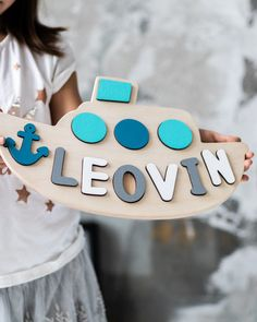 Toddler Gift Baby Boy Wooden Boat Name Puzzle Personalize Gift Room Decor Baby Name Sign Baby Boy Boat Name Puzzle Toddler Toys for Boys - Baby Boy Rooms Ideas Baby Boy Nursery Decor, Nursery Room Decor, Baby Boy Rooms, Boy Decor, Nursery Ideas, Baby Boy Gifts, Toddler Gifts, Toddler Toys, Baby Name Signs