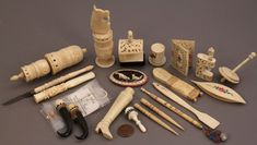 antique ivory sewing notions