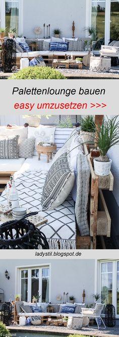 Du möchtest dir eine Palettenlounge selberbauen um draußen zu wohnen? Leicht umzusetzendes DIY mit Deko-Ideen!