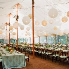 outdoor wedding in canopy. love the hanging latterns Wedding Tent Decorations, Marquee Decoration, Wedding Events, Tent Wedding, Our Wedding, Wedding Table, Rustic Wedding, Dream Wedding, Tuscan Wedding