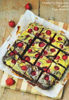 Strawberry Cheesecake Brownies Brownie Cheesecake, Strawberry Cheesecake, Cheesecakes, Vegetable Pizza, Quiche, Chocolate, Baking, Vegetables, Breakfast