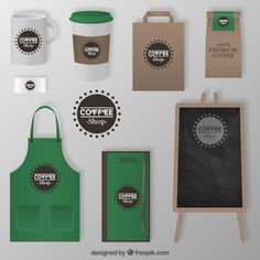 Brown and white coffee corporate identity design set for cafe isolated on black background Coffee Shop Menu, Coffee Shop Business, Coffee Logo, Coffee Branding, Coffee Packaging, Deli Shop, Food Cart Design, Coffee Cup Design, Corporate Identity Design
