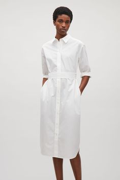 COS image 2 of Long shirt dress in White Cotton Shirt Dress, Long Shirt Dress, Striped Shirt Dress, Plain White T Shirt, Plain Shirts, White Outfits, Casual Outfits, Fashion Outfits, Capsule Wardrobe