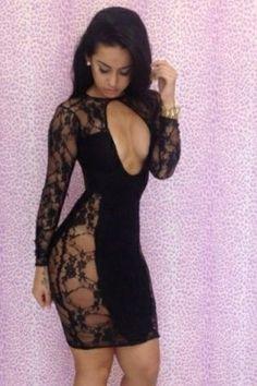 Classic Black Lace Spliced Midi Bodycon Dress